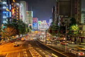 Tokyo Japan cars lights